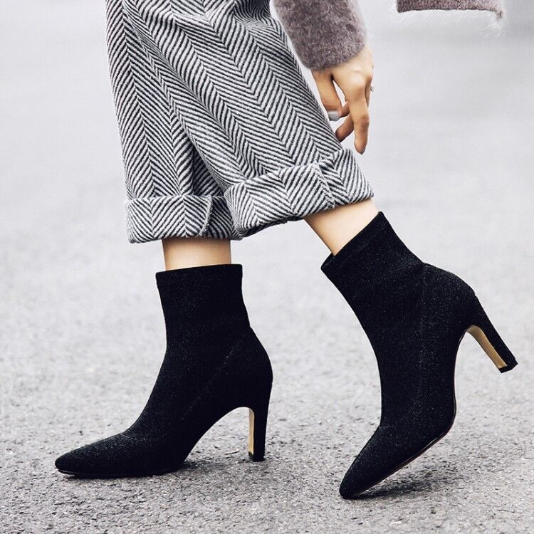Women Sequins Pointed Toe High Heels Ankle Boots Slip On Black Silver shoes Size