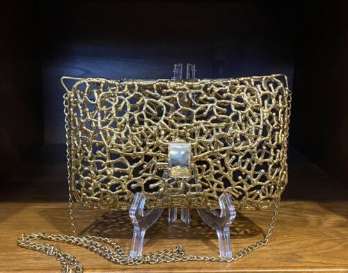 Rare Vintage Antique Brass Tone Metal Wire Star-Shaped Cage Purse