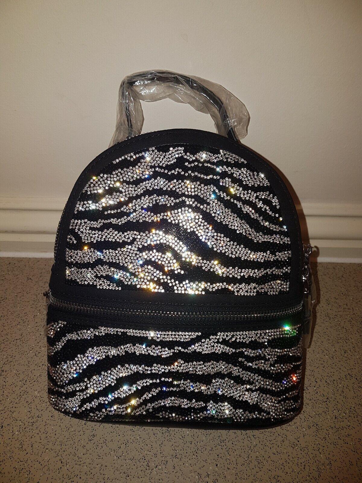Steve Madden, Blioness, Jewelled Backpack in Zebra Print.