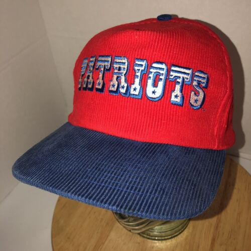 VTG NEW ENGLAND PATRIOTS 80s Red Corduroy Hat Cap
