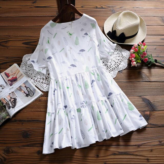 Sweet Japan Style Mori Girl Lolita mushroom&leaf Embroider Ruffles Sleeve Dress