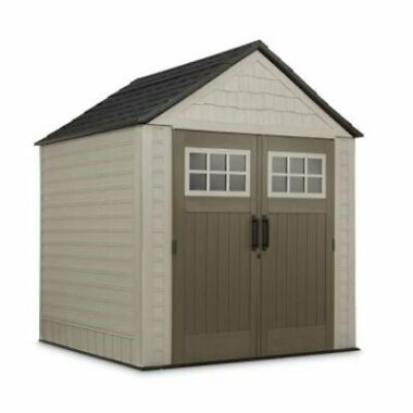 Rubbermaid 7x7 Resin Outdoor Storage Shed with Windows and Utility Hooks