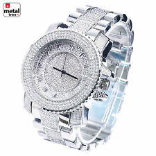 Men's Hip Hop Iced Out Analog Stainless Steel Metal Heavy Band Watches WM 8199 S