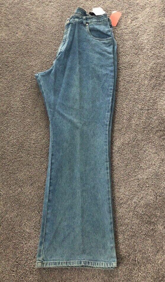 NEW Ulla Popken Inspirations Size 1X Light Denim Boot Cut Jeans Regular. ULA 336