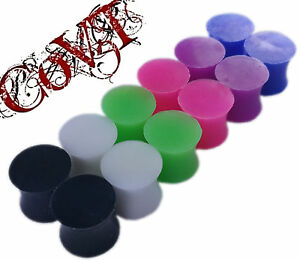 Pair-8g-1-2-034-Silicone-Solid-Plugs-Double-Flare-Gauges-Tunnels-Black-White-Pink