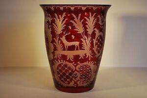 Victorian Red Flash Cut Glass Vase  Bohemian Glass Vase c 1880 - Beaworthy, Devon, United Kingdom - Victorian Red Flash Cut Glass Vase  Bohemian Glass Vase c 1880 - Beaworthy, Devon, United Kingdom