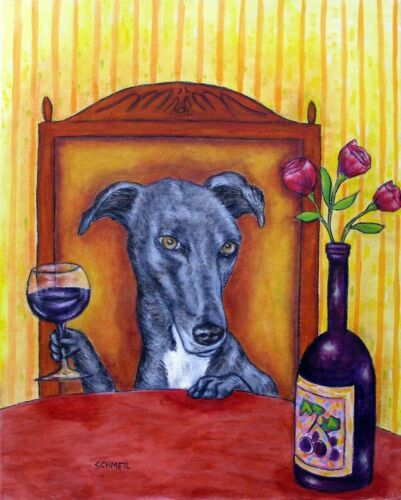GREYHOUND dog wine prints 8x10  artist art PRINT animals impressionism new