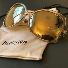 Kenneth Cole Reaction Women Champagne Clear Oversize Mirrored Sunglasses KC1252