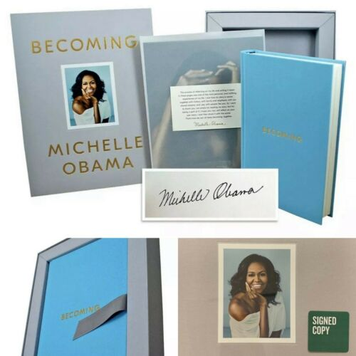 "MICHELLE OBAMA SIGNED COPY ""Becoming"" Book Box Gift Set Autograph 1st Edition"