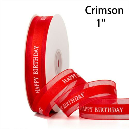 """Happy Birthday Satin Ribbon 1/"""" Width Sheer for Baking Gift Party Decoration"""