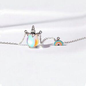 Schoene-Mode-Kinder-Regenbogen-Einhorn-Anhaenger-Kurze-Halskette-Re
