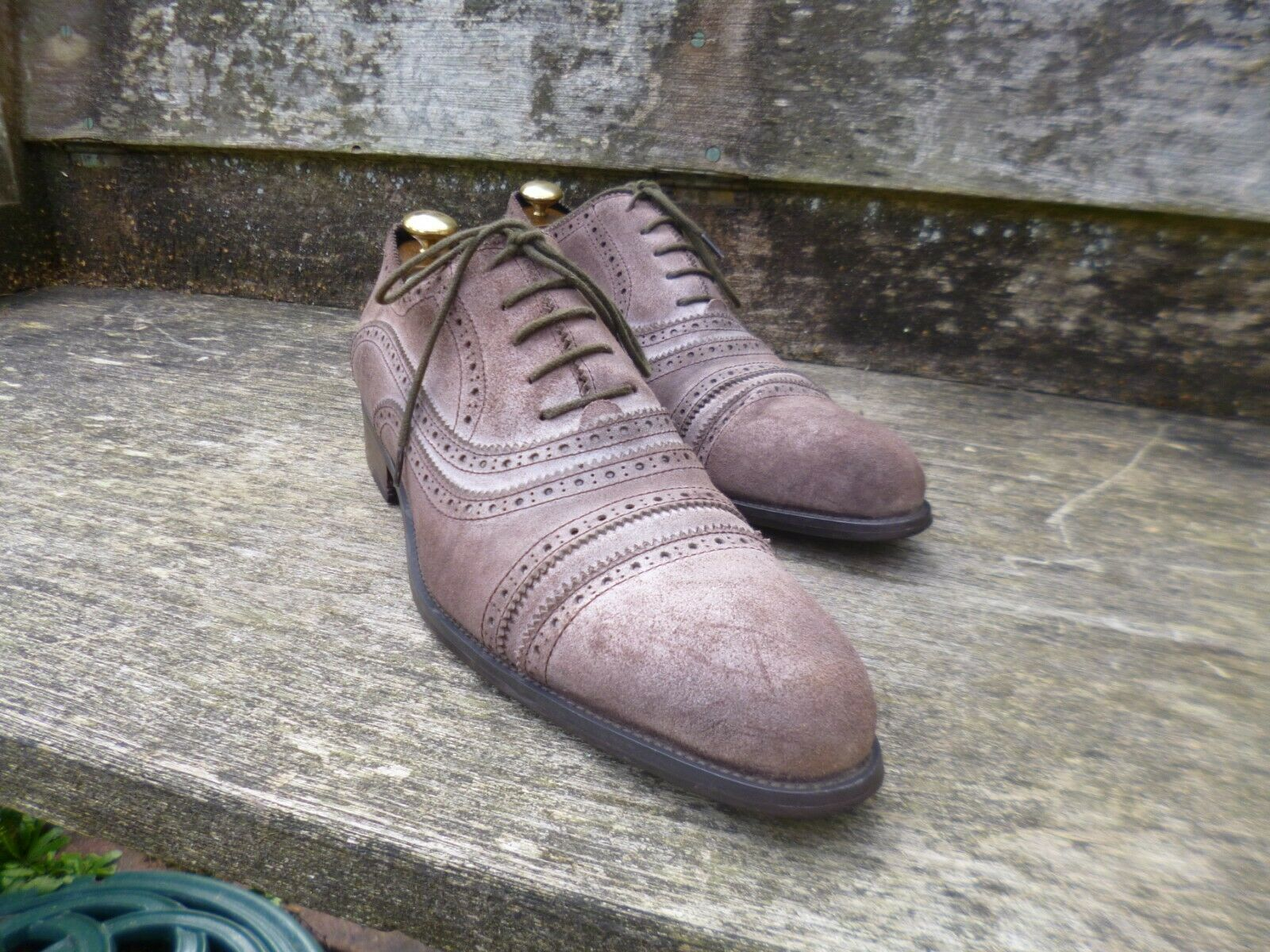 J M WESTON BROGUES – BROWN   TAN ROUGH SUEDE - UK 10 – SUPERB CONDITION