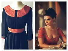 Ancient Grecian Princess Dress MAD MEN Black Red Gold Sheer Long Sleeves 8/36