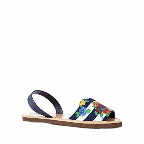 Womens Mantaray Navy Striped Floral Ankle Strap Sandals Flat Beach Shoes UK 3