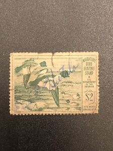 US-DUCK-STAMP-SCOTT-RW16-034-Goldeneye-Ducks-034-1949-USED-2-Green-CV-20