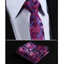 Mens Tie Fuschia Pink Blue Purple Floral Paisley Silk Necktie Wedding FREE HANKY