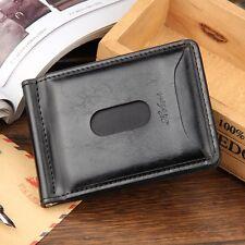 Men's Leather Mini Money Clip Wallet Bifold ID Credit Card Holder Purse Clutch
