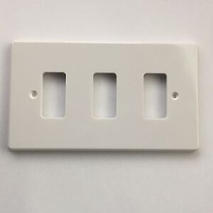 White Crabtree Rockergrid 3 gang Light Switch Plates Cover eBay