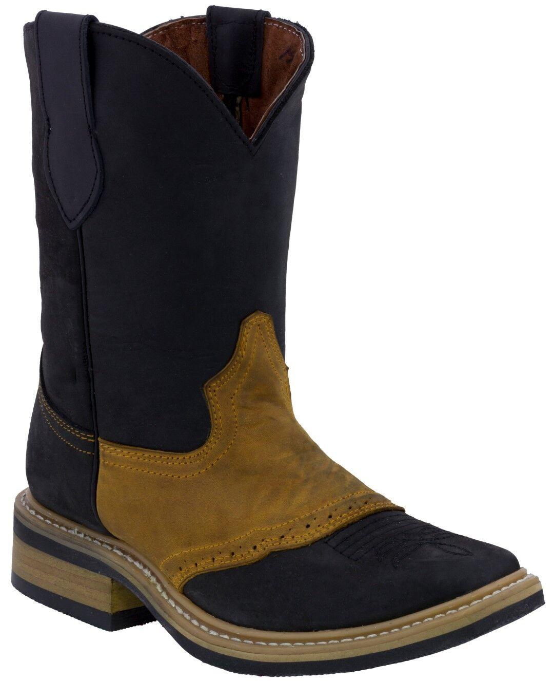 Para Hombre Dos Tonos Negro Silla de superposición de Miel botas De Vaquero Rodeo del dedo del pie