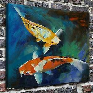 Image Is Loading Bright Fish Koi Carp Painting HD Print On