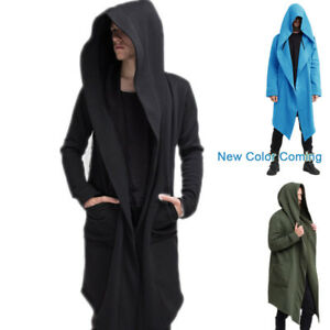 Details about Men's Autumn Fashion Coat Long Sleeve Hooded Cloak Jacket Casual Solid Cardigan