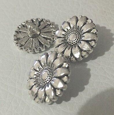 5 x 17mm Shiny Silver Tone Metal Shank Buttons- Australian Supplier
