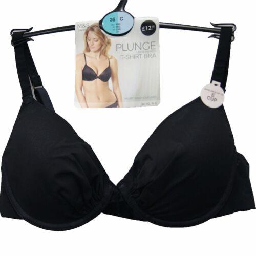 Ex M/&S Ladies 2 Pack Padded Underwired Plunge T-Shirt Bras Black Sizes 32-40