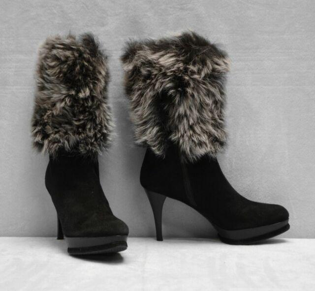 Prada Suede Fur Cuff Mid Calf Boot Deserto: B2 STUART WEITZMAN Black Suede Fur Cuff Platform Mid Calf
