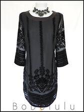 ROMAN ORIGINALS DRESS CHIFFON & DEVORÉ VELVET BLACK CHIC & ELEGANT UK 16 EURO 44