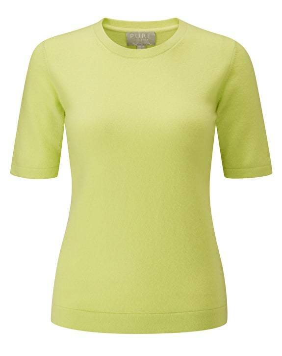 BNWT Pure Collection Cashmere T-Shirt - Fresh Lime - UK Größe 14 - RRP