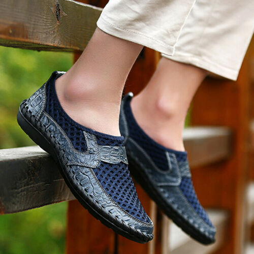 Men Slip On Comfort Shoe Casual Zip Leather Moccasins Loafers Flat Driving Smart
