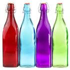 Lemon & Lime Glass Colour Bottles - Red - 1 Litre - x 3
