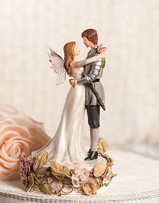 Fantasy Winged Fairy and Valiant Knight Prince with Roses Wedding Cake Topper