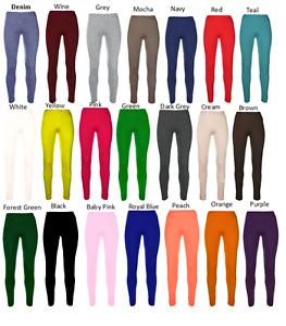 Girls-Kids-Plain-Cotton-Thick-Long-Length-Leggings-Age-2-13-Dance-Brown-Black