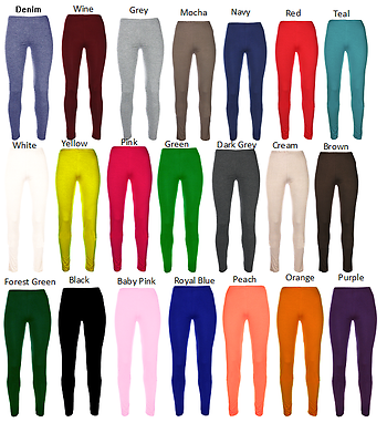 Ages 2-13 (20+ Colours) Girls Plain Legging Full Length Dance Brown Black Green Geeignet FüR MäNner, Frauen Und Kinder