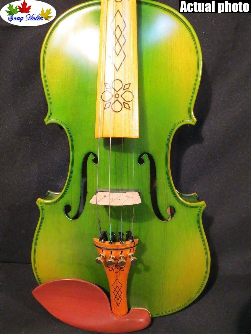 Grüne Farbe von Hand aus Massivholz 4 4 elektrische Geige Akustische Geige