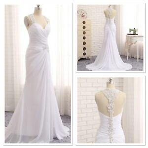 UK-White-Ivory-Chiffon-Beach-front-Slit-A-Line-Bridal-Wedding-Dress-Size-6-20