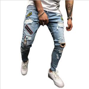 Men-039-s-Strappato-BIKER-JEANS-SKINNY-DESTROYED-Sfilacciati-Slim-Fit-Denim-Pants-Pantaloni