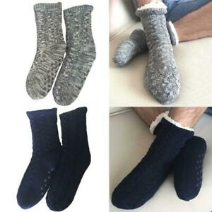 2 Pairs Women Leopard Slipper Socks with Massage Grips Cozy Crew Socks Red