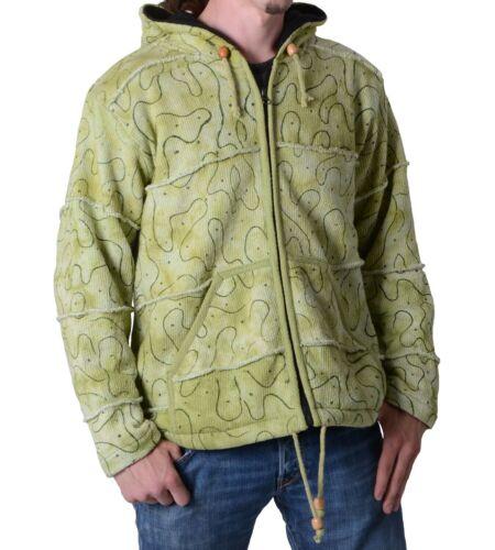 Hippie Goa chaqueta de punto patchwork verde con zipfelkapuze señores chaqueta fleecefutter