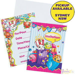 Shopkins party supplies 8 invitations birthday invites envelopes image is loading shopkins party supplies 8 invitations birthday invites amp filmwisefo