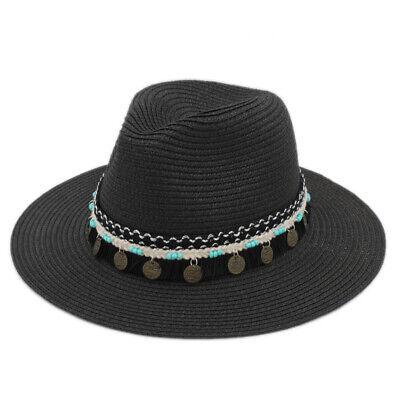 0255316ff5 Summer Straw Panama Hat Beach Sun Foldable Fedora Hats Braided Hatband for  Women | eBay