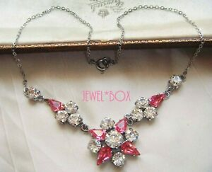 EARLIER VINTAGE PINK TEAR DROP CRYSTAL DIAMOND RHINESTONE FLOWER NECKLACE Gift