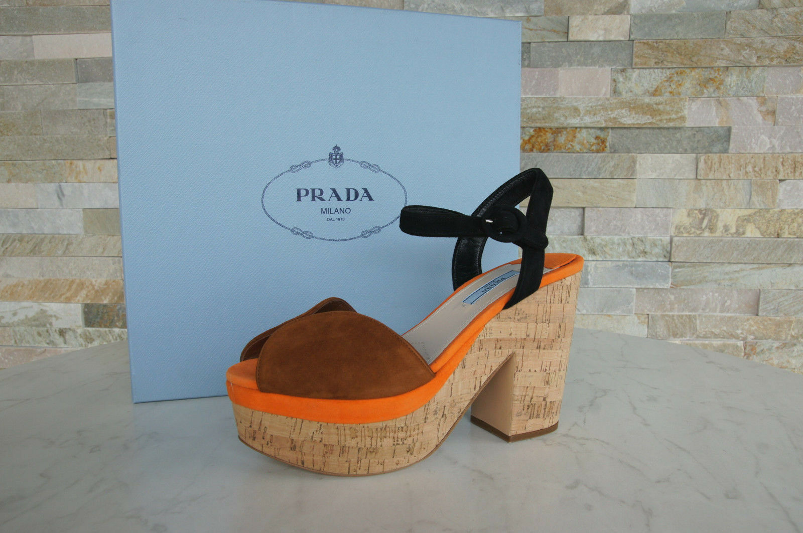Prada Platform Size 39 Ankle-Strap Sandal Cork Heels 1XZ519 shoes New Previously