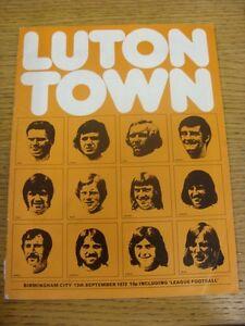 13-09-1972-Luton-Town-v-Birmingham-City-Crease-1-034-Split-On-Spine-Team-Change