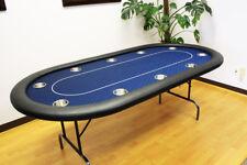 "10 Players 84"" Texas Holdem Poker Table Folding Legs Midnight Blue Color"