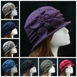 Winter Hats Women/'s Bucket Hat Vintage Cloche Church Elegant Flower Fascinator