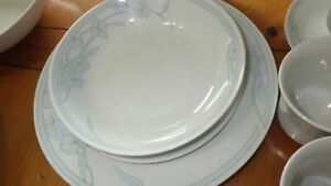 Fine-China-Dinnerware-Set-Blue-Floral-Design-service-for-8-EUC-45pcs