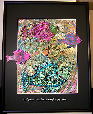 OOAK Framed FISH Mosaic Collage 11x14 Original Art by Jennifer Obertin