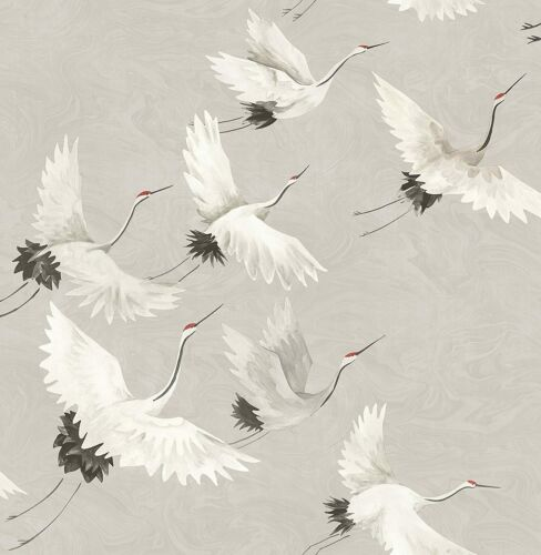 10m x 52cm A-Street Prints Wind Song Crane Wallpaper Grey